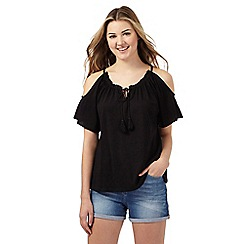 Red Herring - Black cold shoulder frill top