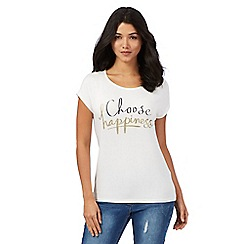 Red Herring - Ivory 'Choose happiness' slogan print t-shirt