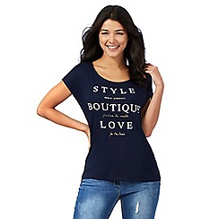 Red Herring - Navy 'Style boutique love' slogan print t-shirt