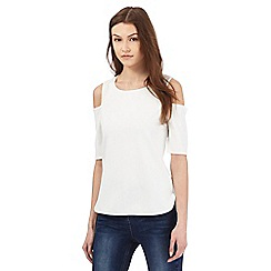 Red Herring - White textured cold shoulder top