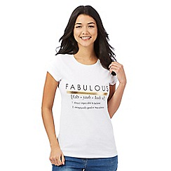 Red Herring - White 'Fabulous' slogan print t-shirt