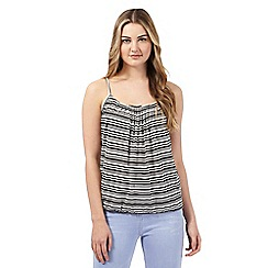 Red Herring - Black and white striped print bubble hem cami top