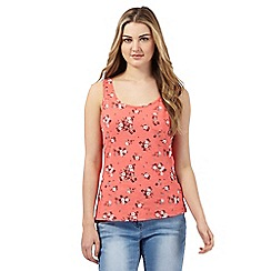 Red Herring - Coral floral print chest pocket vest top