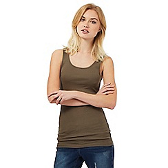 Red Herring - Khaki rib vest top