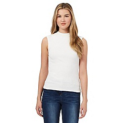 Red Herring - Cream ribbed sleeveless turtle neck top