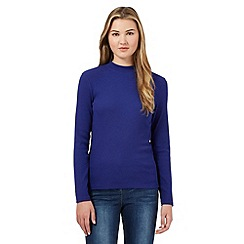 Red Herring - Blue ribbed turtle neck top