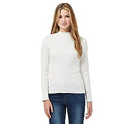 Red Herring - Cream ribbed turtle neck top