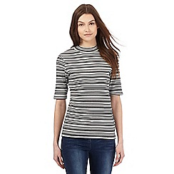 Red Herring - Black and white textured striped turtle neck top