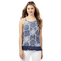 Red Herring - Navy patchwork floral print top