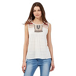 Red Herring - Ivory embroidered yoke vest top