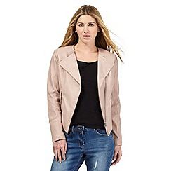 Red Herring - Light pink asymmetric biker jacket