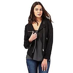 Red Herring - Black asymmetric biker jacket