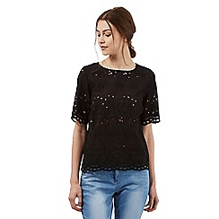 Red Herring - Black embroidered cut-out shell top