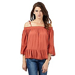 Red Herring - Dark orange textured cold shoulder gypsy top
