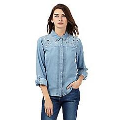 Red Herring - Light blue cut-out floral shoulder denim shirt