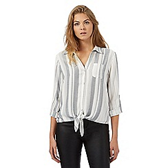 Red Herring - Ivory tie front striped shirt