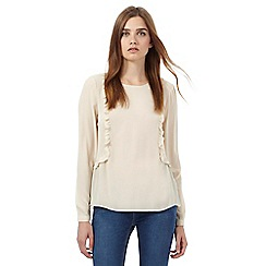 Red Herring - Cream long sleeve ruffle front blouse