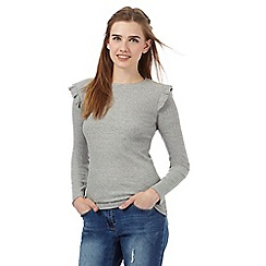Red Herring - Grey ribbed ruffle shoulder top