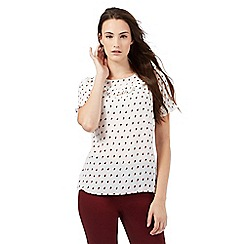 Red Herring - Ivory polka dot print blouse