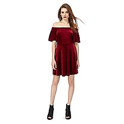 Red Herring - Dark red velvet Bardot dress