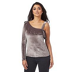 Red Herring - Silver velvet frill one shoulder top