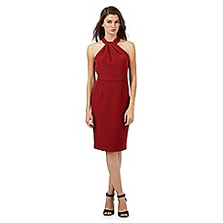 Red Herring - Dark red twisted neck detail dress