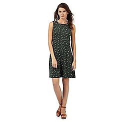 Red Herring - Dark green arrow print cut-out shoulder dress