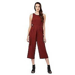 Red Herring - Dark red cropped wide leg jumpsuit
