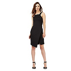 Red Herring - Black wrap over scuba dress