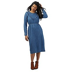 Red Herring - Light blue denim ruffle midi tea dress