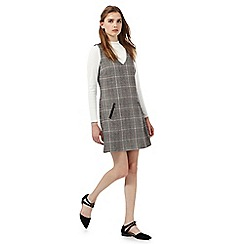 Red Herring - Grey checked print pinafore dress