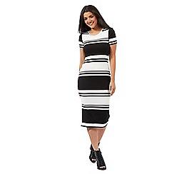 Red Herring - Black striped ribbed midi dress