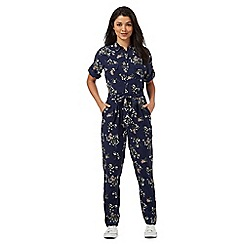 Red Herring - Navy floral print boiler suit