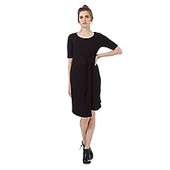 Red Herring - Black ribbed front knot dress