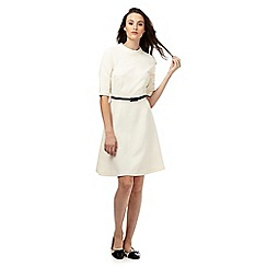 Red Herring - Ivory textured belter skater dress with a belt