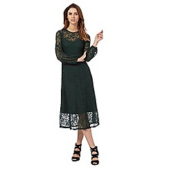 Red Herring - Dark green lace midi dress