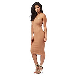 Red Herring - Tan ribbed one shoulder midi dress
