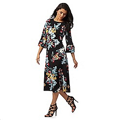 Red Herring - Multi-coloured floral print flute sleeved dress