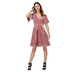 Red Herring - Pink velvet skater dress