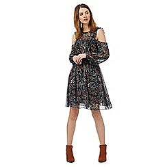 Red Herring - Black floral print cut-out shoulder dress