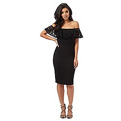 Red Herring - Black lace trim Bardot dress