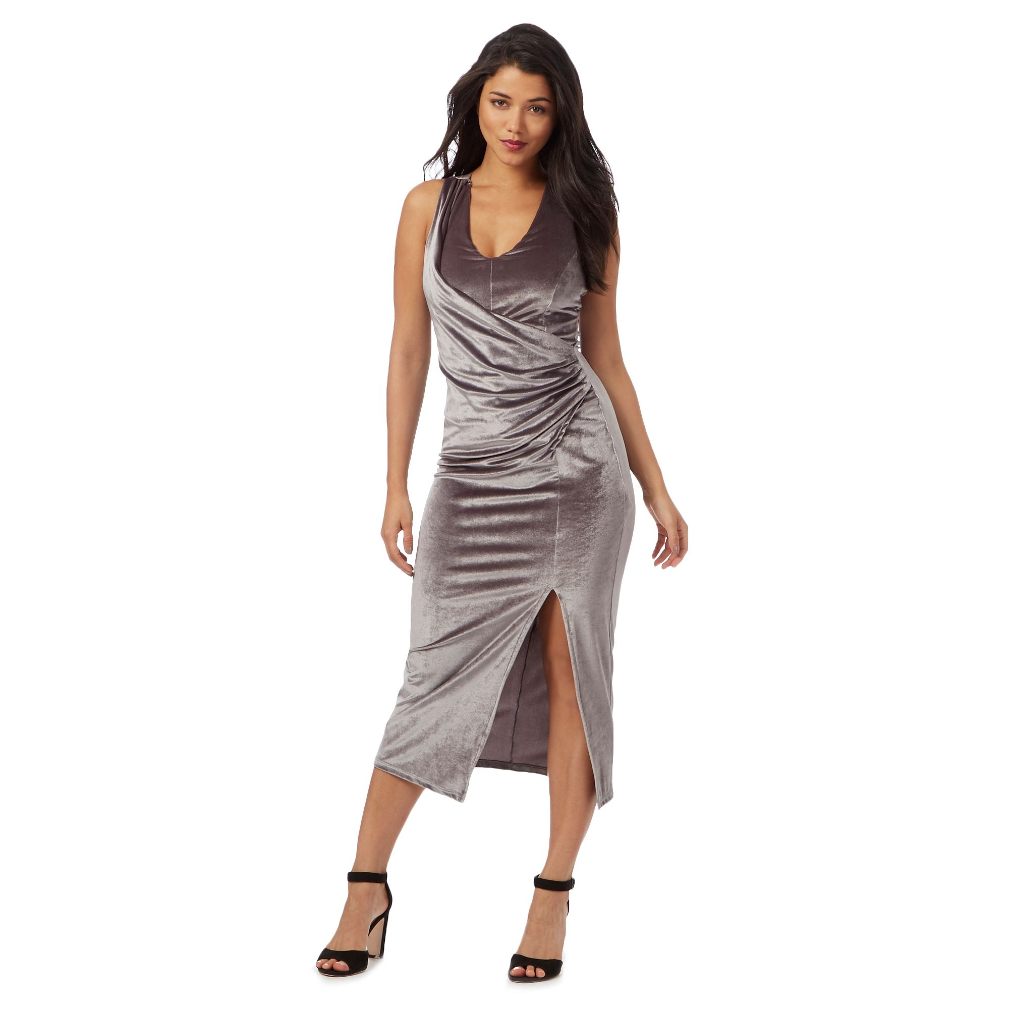 Red Herring Womens Grey Velvet Maxi Dress From Debenhams 18