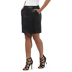Red Herring - Black stitch detail mini skirt