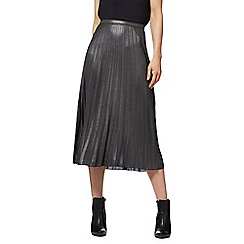 Red Herring - Dark grey metallic pleat midi skirt