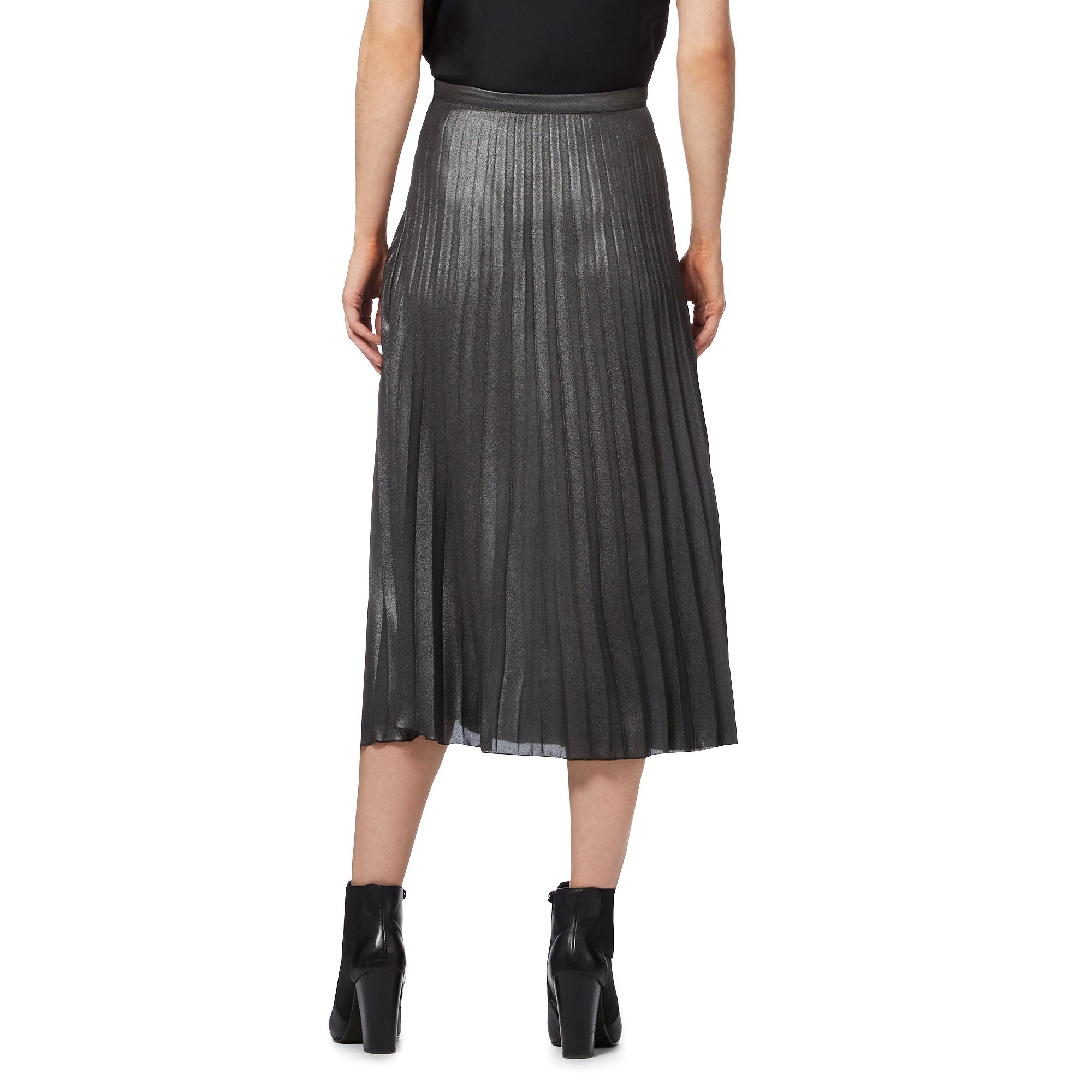 herring womens grey metallic pleat midi skirt