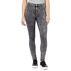 Red Herring - Black acid wash 'Heidi' high-waisted super skinny jeans