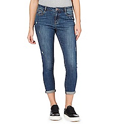 Red Herring - Blue mid wash distressed effect high waisted slim jeans