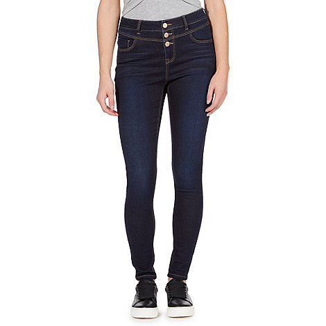 Red Herring Dark blue 'Carly' high-waisted skinny jeans | Debenhams
