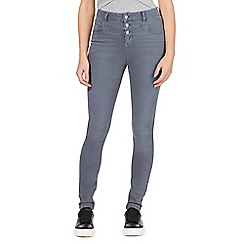 Red Herring - Grey 'Carly' high-waisted super skinny jeans
