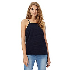 Red Herring - Navy lace square neck top
